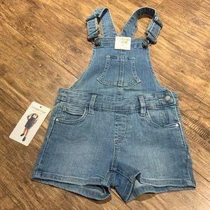 Urban Star light wash jean short overalls